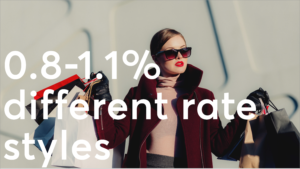 woman with bags behind 0.8% different rate caption