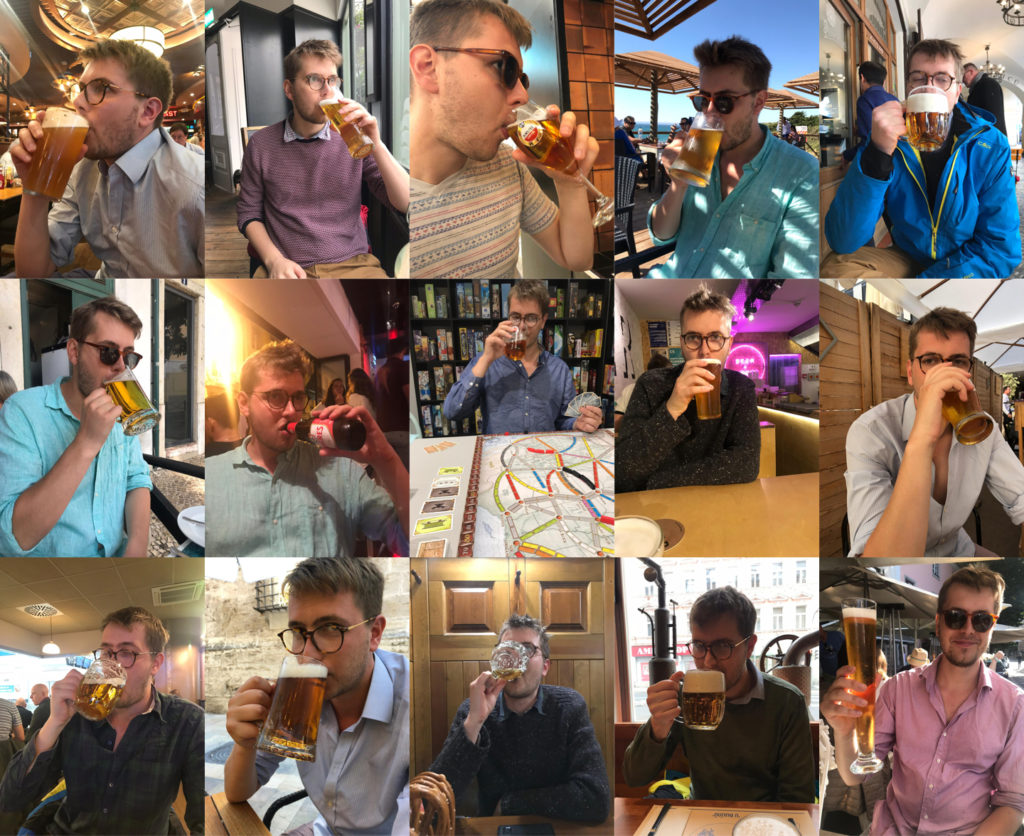 picture of author drinking pints across 15 pubs