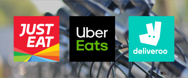 Just Eat, Uber Eats, Deliveroo logos