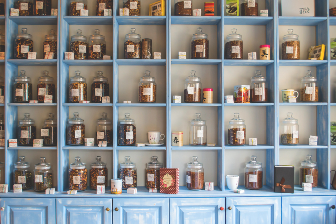 apothecary with stuffed shelves